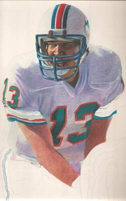 Miami Dolphins Drawing - Danny by Darren  Chilton