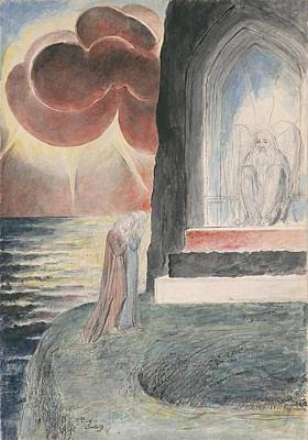 Purgatory Painting - Dante And Virgil Approaching The Angel Who Guards The Entrance Of Purgatory by William Blake