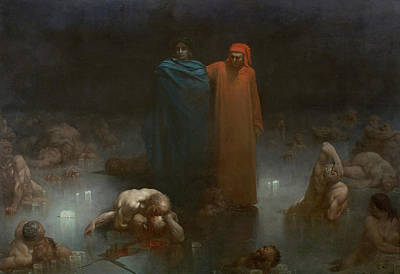 Virgil Painting - Dante And Virgil In The Ninth Circle Of Hell by Gustav Dore