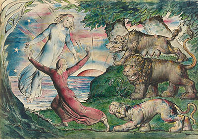 William Blake Painting - Dante Running From The Three Beasts by William Blake