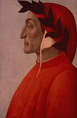 Red Nose Painting - Dante by Sandro Botticelli