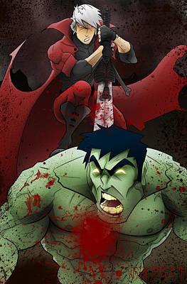 Digital Art - Dante Vs. The Hulk by Justin Peele