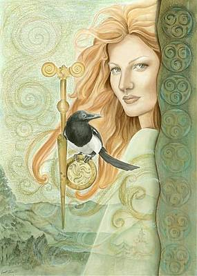 Magpies Mixed Media - Danu by Jan Hess