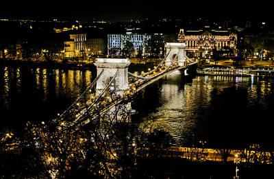 Danube Chain Bridge Art Print