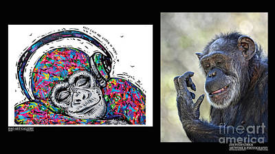Chimpanzee Mixed Media - Dao's Painting And My Photograph Coming Together IIi by Jim Fitzpatrick
