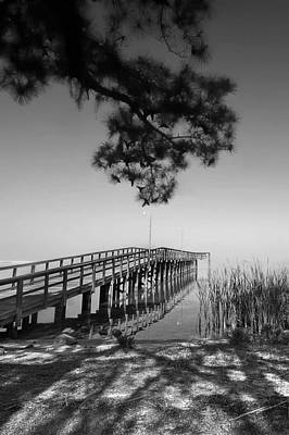 Photograph - Daphne Alabama Pier Bw by Michael Thomas