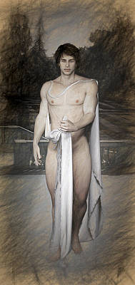 Male Nude Drawing Drawing - Daphnis Myth by Quim Abella
