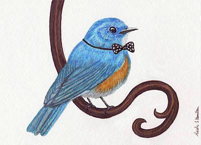 Drawing - Dapper Bluebird by Nicole I Hamilton