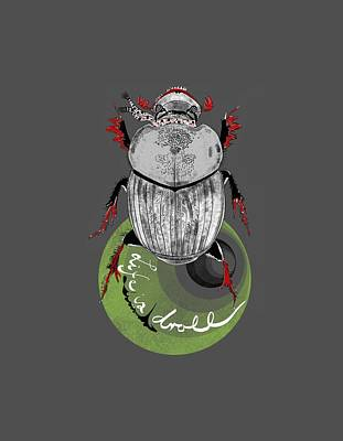 Wall Art - Digital Art - Dapper Dung Beetle by Michelle De Villiers