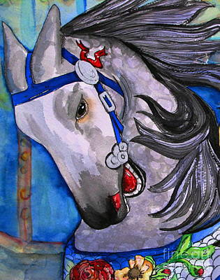 Carousel Horse Painting - Dapple Grey by Colleen Kammerer