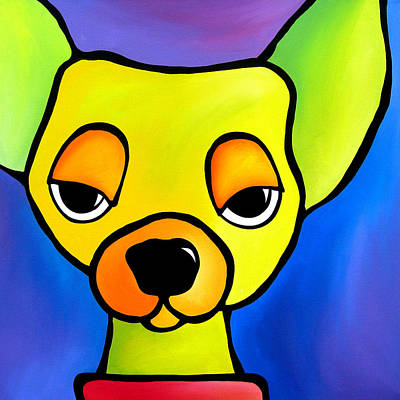Dog Abstract Art Painting - Dare Me by Tom Fedro - Fidostudio