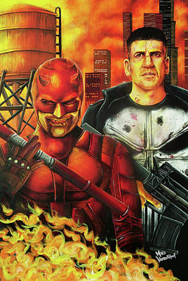 Painting - Daredevil And The Punisher by Michael Vanderhoof