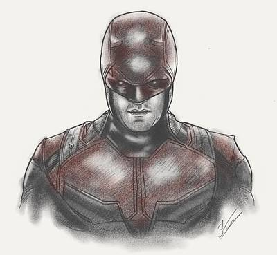 Dc Comics Drawing - Daredevil  by Scott Strachan