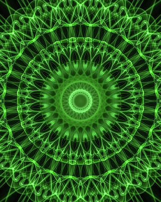 Digital Art - Dark And Light Green Mandala by Jaroslaw Blaminsky