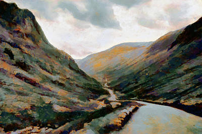 Painting - Dark And Moody Honister Pass In Cumbria by Menega Sabidussi