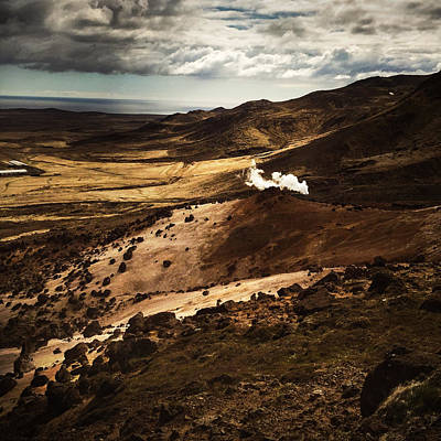 Brown Photograph - Dark And Steaming Iceland by Matthias Hauser