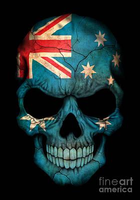 Jeff Digital Art - Dark Australian Flag Skull by Jeff Bartels