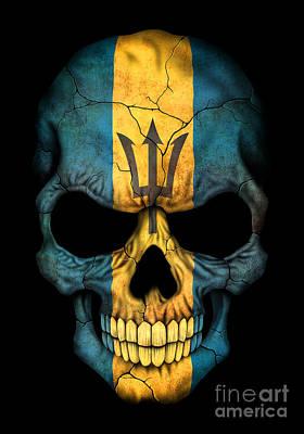 Jeff Digital Art - Dark Barbados Flag Skull by Jeff Bartels