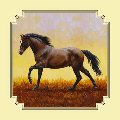 Gelding Painting - Dark Bay Running Horse Yellow by Crista Forest