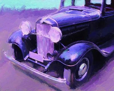 Digital Art - Dark Blue Coupe by David King