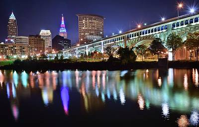 Dark Blue Night In Cle Print by Frozen in Time Fine Art Photography