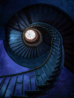 Photograph - Dark Blue Spiral Staircase by Jaroslaw Blaminsky