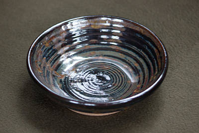 Ceramic Art - Dark Brown And Red Ceramic Bowl by Suzanne Gaff