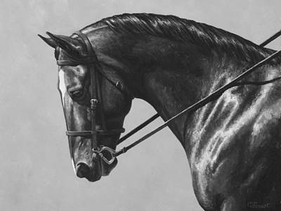 Dark Brown Dressage Horse Black And White Print by Crista Forest
