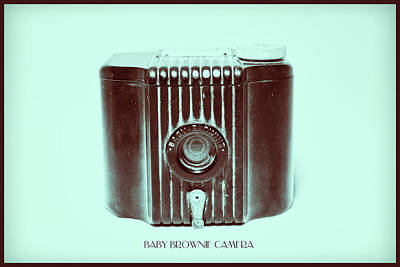Photograph - Dark Brown Sepia And Turquoise Art Deco Baby Brownie by Tony Grider