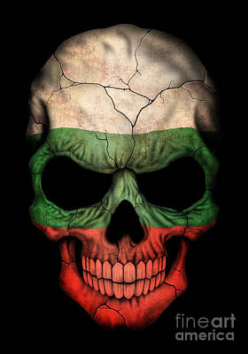 Dark Bulgarian Flag Skull Art Print