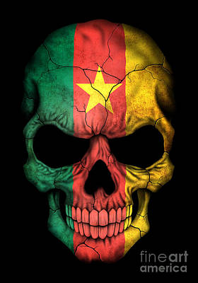 Dark Cameroon Flag Skull Art Print