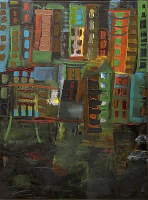 Dark City Art Print by Maria Curcic