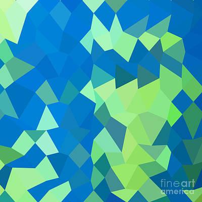 Dark Cyan Abstract Low Polygon Background Art Print by Aloysius Patrimonio