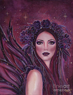 Dark Dahlia Fairy Art Print by Renee Lavoie