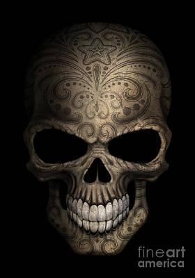 Jeff Digital Art - Dark Day Of The Dead Sugar Skull by Jeff Bartels
