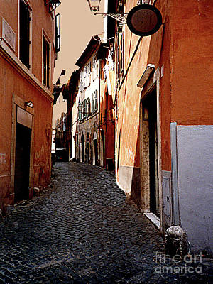 Photograph - Dark Dingy Street In The Old Roman Ghetto - Italy by Merton Allen