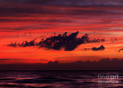 Pinery Photograph - Dark Dramatic Clouds Backlit By Beautiful Red Sunset Sky by Oleksiy Maksymenko