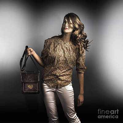 Life Model Photograph - Dark Fashion Style With Fashionable Bag Accessory by Jorgo Photography - Wall Art Gallery