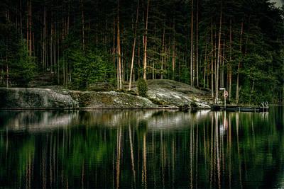 Dark Forest Lake In Finland Art Print by Sandra Rugina