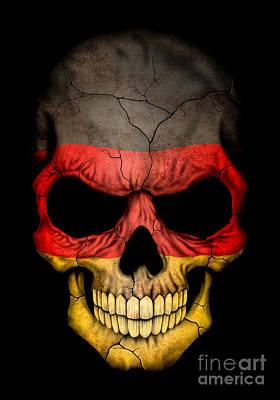 Jeff Digital Art - Dark German Flag Skull by Jeff Bartels