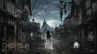 High Resolution Mixed Media - Dark Ghost Town by Fayaz R