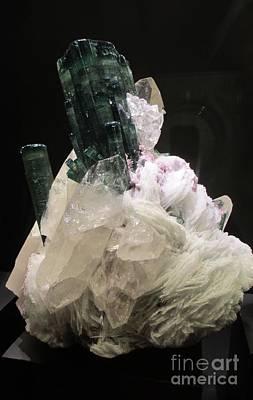 Photograph - Dark Green Gemstone On White Base by Barbara Yearty