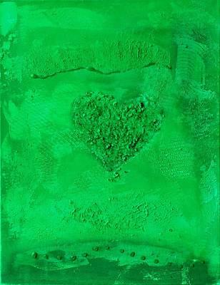 Painting - Dark Green Paper Heart - Variation by Alexandra Schumann