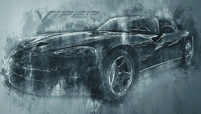 Photograph - Dark Grunge Dodge Viper by Ray Van Gundy
