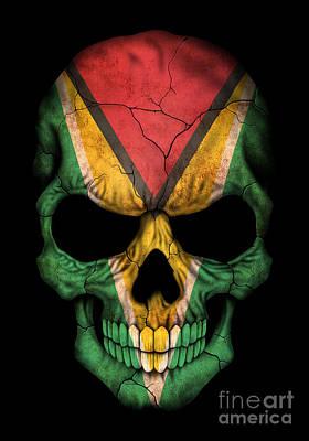 Jeff Digital Art - Dark Guyanese Flag Skull by Jeff Bartels