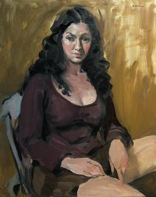 Painting - Dark-haired Model In Purple Top by Robert Holden