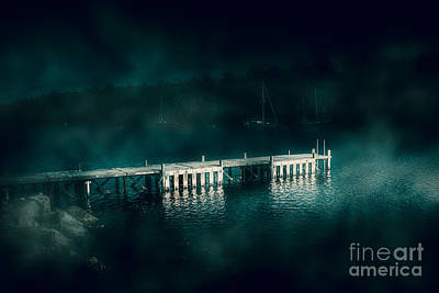 Evening Scenes Photograph - Dark Haunting Wooden Pier by Jorgo Photography - Wall Art Gallery