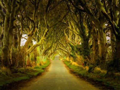 Dark Hedges Road Through Old Trees In Digital Oil Art Print