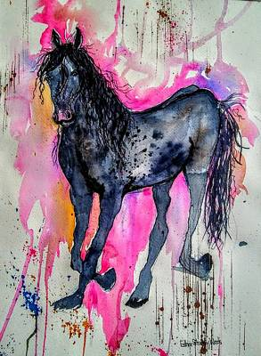 Painting - Dark Horse In Pink by Esther Woods