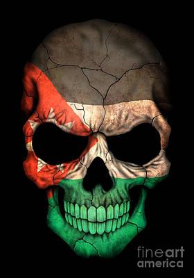 Dark Jordanian Flag Skull Art Print by Jeff Bartelns